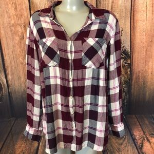 Plaid button down blouse And eawy